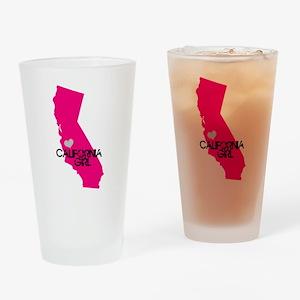 CALIFORNIA GIRL w HEART [4] Drinking Glass